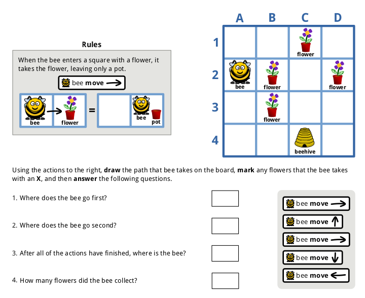 Sample questions from my blocks-based programming assessment.